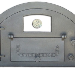 Pizza oven door with window and thermometer